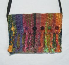 Handwoven Clutch Bag with Braids and Felt Balls by sherrybingaman, $75.00