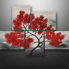 Abstract Painting Modern Landscape Painting Asian Tree Art by Gabriela 44x32 Black White Red Abstract  Painting