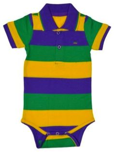 7ff331a6d Poree's Embroidery · Products · Mardi Gras Infant Traditional Striped  Collared Romper