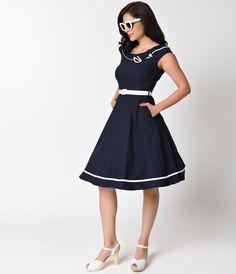 Voodoo Vixen 1940s Navy Cap Sleeve Nora Stretch Swing Dress - 1940s - Shop by Era - Clothing | Unique Vintage