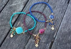 Gemstone (garnet, ruby, turquoise and lapis lazuli) bracelets with matching gold plated bezel gemstone and hamsa charms. (The garnet bracelet has a ruby bezel stone charm.) PLEASE CHOOSE YOUR COLOR AND LENGTH