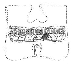 Leather flap bag (length 19 cm) engraved with the text got woldes. The dashed line is drawn possible reconstruction of the bag (Harjula & Jokela, 2003, Figure 4).