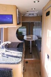 Creative Mobile Interiors builds The Mortgage Bus - Sprinter Sprinter Motorhome, Mercedes Sprinter Camper, Small Galley Kitchens, Kitchen Small, Kitchen Ideas, Kitchen Design, Campervan Interior, Campervan Ideas, Campers For Sale
