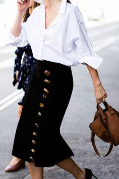 Crisp White Blouse & Button Up Skirt.