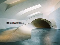 The world's first large scale skateable sculptural installation, Skateable Sculpture by Rich Holland, shown at the Kiasma Museum of Modern Art in Finland