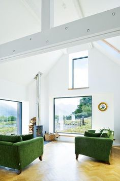 Vault over living and dining area - Leachachan Barn - Rural Design Architects - Isle of Skye and the Highlands and Islands of Scotland Larch Cladding, Stone Barns, Modern Barn, Modern Farmhouse, Window Design, Prefab, Building A House, Building Homes, New Homes
