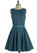 Luck Be a Lady Dress in Blue Dots $74.99  Gorgeous for under $80!