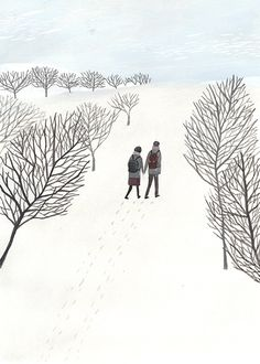 Winter Illustration, Wedding Illustration, Christmas Illustration, Cute Illustration, Winter Art, Naive Art, Ink Illustrations, Winter Scenes, Art Inspo