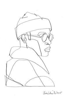 """""""Gaze 200"""", one-continuous-line-drawing by Boris Schmitz, 2015: -> SALE bis 70% auf Fashion -> klicken"""
