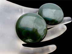 Vintage Dark Green Bakelite Earrings Clip by TheJewelryLadysStore, $17.00