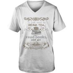 Tea Books Tattoos- Guys V-Neck - White