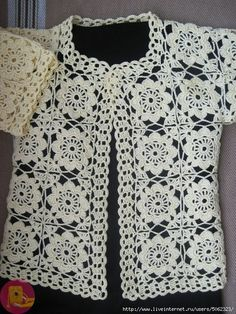 Tina's Handicraft : Crochet Bolero With Square Motifs - Diy Crafts Crochet Bolero Pattern, Crochet Jacket, Crochet Cardigan, Crochet Patterns, Crochet For Kids, Knit Crochet, Irish Lace, Crochet Clothes, Crochet Stitches