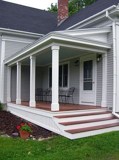 Find and save ideas about Front porch design ideas. See more ideas about Front porch remodel, Front porches and Front porch addition. Front Porch Steps, Farmhouse Front Porches, Front Porch Design, Side Porch, Porch Designs, Front Porch Posts, Front Porch Addition, Porch Pillars, Deck Design
