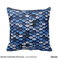 Metallic Cobalt Blue Fish Scales Pattern Throw Pillows
