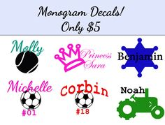 Decals for car windows, water bottles, or anything! Only $5