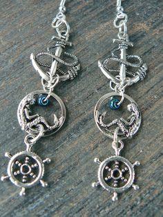 Nautical mermaid earrings  mermaid siren earrings by gildedingypsy, $24.50