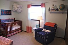 Coral and Navy Nursery | coral & navy nursery | lo & behold