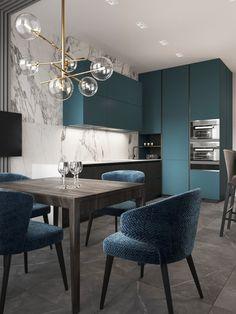 Blueberry flat on Behance Kitchen Room Design, Living Room Kitchen, Home Decor Kitchen, Interior Design Kitchen, Modern Interior, Interior Architecture, Living Room Decor, Apartment Interior, Room Interior