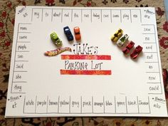Site Words Parking Lot - Fun for Kindergarten Boys! This is neat. Think you could do a smaller one for M using shapes, colors, and letters. ??? Great sources.