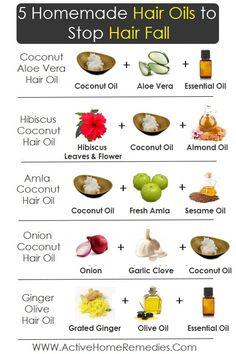 5 Homemade Hair Oils to Stop Hair Fall #hairloss #hairfall #homemade #homeremedies