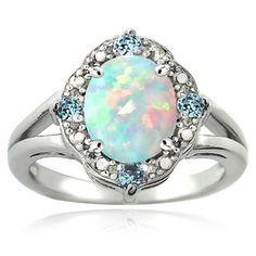 Glitzy Rocks Sterling Silver Opal, Light Blue Topaz and Diamond 1 1/4 carat TGW Ring (I-J, I2-I3) | Overstock.com Shopping - The Best Deals on Gemstone Rings