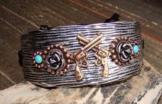 Rustic Western Pistol Gun Wide Adjustable Cuff Bracelet Cowgirl Fashion Jewelry CedarCreekShop.com