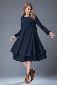 Navy Linen Dress Navy Blue Linen Midi Summer Dress door YL1dress