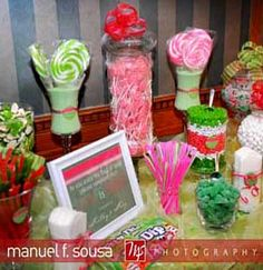 Candy buffet in lime green and pink. Very hip.