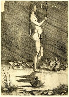 Print made by Master of 1515 Fortune, a nude woman holding a mirror and standing on a winged globe which sails over water before an island with a castle. Sailing, Globe, Castle, Statue, Island, Prints, Inspiration, Etchings, Art