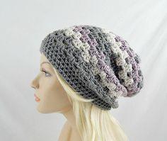 Grey Striped Hat, Slouch Beanie Hat, Womens Crochet Hat, Slouchy Winter Hat, Baggy Hat, Vegan Friendly Hat, Crochet Slouch Hat