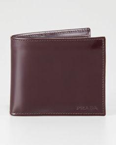 Spazzolato Leather Hip-Fold, Cordovan by Prada at Neiman Marcus.
