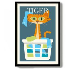 Personalized Cat Gift Orange Cat Print Laundry Room Idea Tabby Cat... (440 ARS) ❤ liked on Polyvore featuring home, home decor, wall art, grey, home & living, home décor, wall décor, gray wall art, text poster and word wall art
