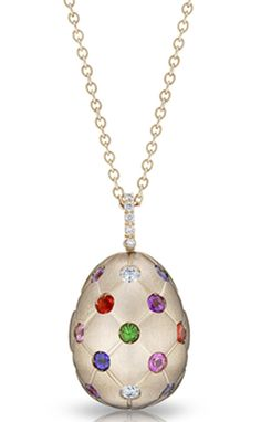 Faberge Treillage Fine Jewellery Egg Pendant Treillage Multicoloured Rose Gold Matt   C W Sellors Fine Jewellery and Luxury Watches
