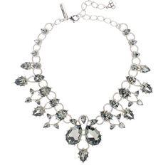 Oscar de la Renta Black Diamond Pear Stone Necklace ($1,190) ❤ liked on Polyvore featuring jewelry, necklaces, antique necklace, stone jewellery, stone jewelry, stone necklace and swarovski crystal necklace