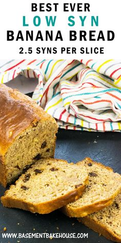 This LOW SYN BANANA BREAD recipe is the ultimate Slimming World cake recipe! Just syns per slice, it's an ideal Slimming World dessert, treat or breakfast. A simple, delicious and low syn banana bread recipe. Slimming World Desserts Puddings, Slimming World Deserts, Slimming World Recipes Syn Free, Slimming World Diet, Slimming Eats, Slimming World Taster Ideas, Healthy Puddings, Slimming World Banana Cake, Slimming World Breakfast