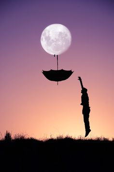 Adrian Limani entre soleil et lune upside down umbrella hanging from a full moon Moon Photos, Moon Pictures, Moon Photography, Amazing Photography, Sombra Lunar, Photo Illusion, Ciel Nocturne, Moon Shadow, Good Night Moon