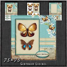 Vintage Flowers Butterflies and Lace 1252 by Gertraud Lueckel 7.5inch card topper with decoupage matching insert and a notecard.3 sheetssentiments tags Happy Birthday Happy Mothers Day With Love Thank You A little Note and one blank