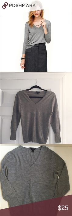 J. Crew merino wool sweater This grey merino wool sweater from J. Crew is super soft and cozy. It's perfect for both work and weekend. Excellent condition - worn twice and then dry cleaned. J. Crew Sweaters V-Necks
