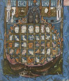 """Arche de Noé, in """"La Somme le Roi"""", folio 86r, auteur: Laurent d'Orléans, édition: 1294, copiste: Perinz de Falons clerc"""