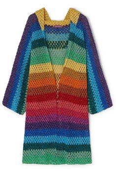 kimono de tricot cardigan casaco colorido listrado inverno arco iris