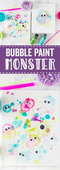 These Bubble Paint Monsters are such a fun way to play with paint! Fun paint colors, straws, and googly eyes make this a perfect craft for the kids!   #kidscraft #kidsfun #canvas