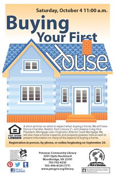 Library Graphic Design - Buying your first House at Potomac