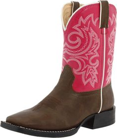 Durango Boot (Little Kid) Smooth Brown Synthetic Leather Foot Under A Vibrant Purple-Hue Shaft Comfortable cushion, flexible insoles New long-lasting PVC soles Best Cowboy Boots, Pink Cowgirl Boots, Pink Boots, Cowgirl Style, Girls Western Boots, Durango Kid, Pull On Boots, Boys Shoes, Brown Boots