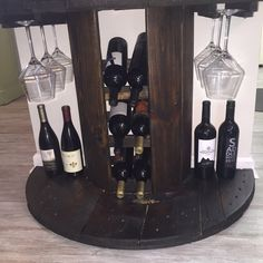 Reclaimed Wooden Cable Spool Wine Bar  Wine von OceansideReclaimed