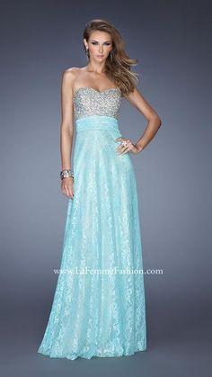 La Femme 20385 Light Mint Strapless Chiffon Prom Dress