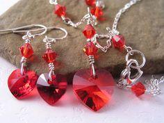 Crystal Heart Necklace Earrings, Swarovski Heart Pendant Necklace Earrings, Bridesmaid Crystal Heart Necklace Earrings,  $41.50, via Etsy. http://www.etsy.com/treasury/NTM5ODkzNXwyNzIzODg4NDky/cupid-lost-his-bow