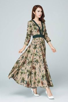Retro dress Long dress linen dress fall dresses for women image 4