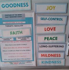 Fruitages of the spirit magnets. Excellent Family Worship project-do research on each and then work on them together.