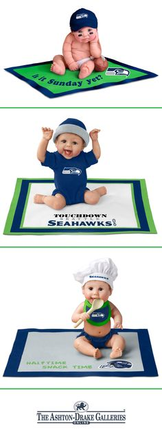 Officially licensed NFL Seahawks baby dolls with expressive features and poses. Team colors and logo on hats, blankets, more! Hand painted.
