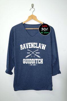 Ravenclaw Quidditch Shirt Harry Potter Shirts mit V-Ausschnitt